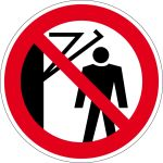 Prohibition sign - Behind the swivel arm, forbidden