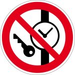 Prohibition Sign - No metal parts or watches allowed