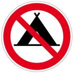 Prohibition sign - tents prohibited
