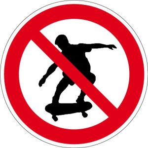 Prohibition sign - skating prohibited - aluminum - Ø 5 cm