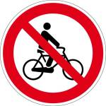 Prohibition sign - biking prohibited