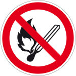 Prohibition Sign - Fire, open light and smoking prohibited