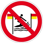 Prohibition Sign - Surfing betwe ... d and yellow flags is prohibited