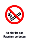 Prohibition sign - From here smoking is prohibited