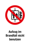 Prohibition sign - Do not use the lift in case of fire