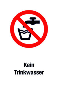 Prohibition sign - no drinking water - foil self-adhesive - 20 x 30 cm