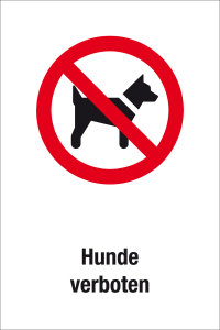 Prohibition sign - Dogs forbidden - Foil self-adhesive - 20 x 30 cm