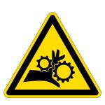 Warning sign - warning of hand injuries in gear drive