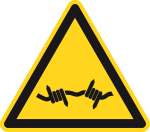 Warning sign - warning of barbed wire