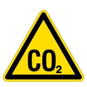 Warning sign - warning of CO2 - danger of suffocation - foil self-adhesive - side length 5 cm
