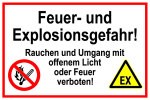 Information sign - danger of fire and explosion!