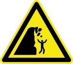 Warning Sign - Rockfall warning from unstable cliff