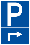 Parking sign - parking corner on the right