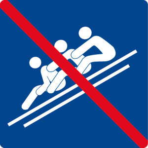 Swimming pool sign - Use with several people not allowed - Foil self-adhesive - 5 x 5 cm