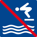 Swimming pool sign - jumping prohibited