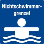 Swimming pool sign - non-swimmer border!