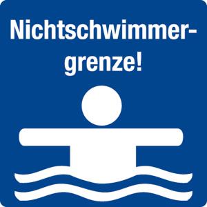 Schwimmbadschild - Nichtschwimmergrenze! - Folie Selbstklebend - 5 x 5 cm