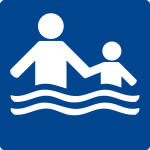 Swimming pool sign - Only when accompanied by an adult