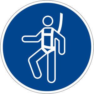 Mandatory sign - Use Harness - Plastic - Ø 5 cm