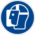 Mandatory sign - use face shield