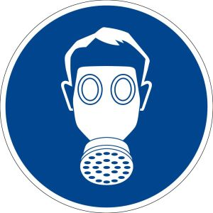 Mandatory sign - use respiratory protection - plastic - Ø 5 cm