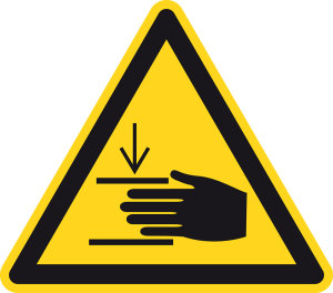 Warning sign - warning of hand injuries - plastic - side length 5 cm
