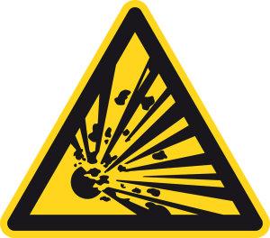 Warning sign - warning of explosive substances - plastic - side length 5 cm