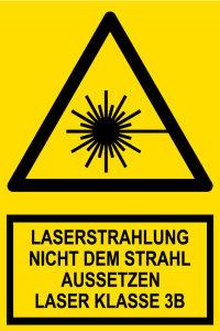 Warning sign - laser radiation laser class 3B - plastic - 20 x 30 cm