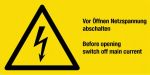 Warning sign - Switch off mains voltage