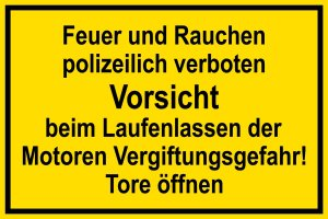 Warning sign - fire and smoking prohibited by the police - plastic - 20 x 30 cm