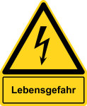 Warning sign with text field - danger to life