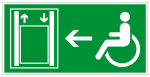 Escape route sign - lift with extended operating time on the left