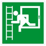 Escape route sign - emergency exit with escape ladder left