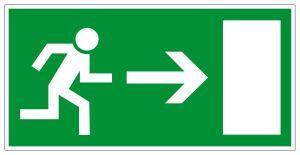 Escape route sign - Escape route right - Foil self-adhesive - 10 x 20 cm