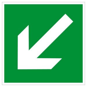 Escape route sign - direction arrow up / down - plastic - 5 x 5 cm