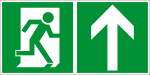 Escape route sign - rescue route on the top right