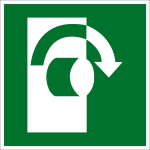 Escape route sign - open in a clockwise direction
