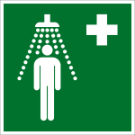 Escape sign - emergency shower