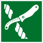 Escape sign - knife for life raft equipment