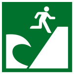 Escape sign - Tsunami evacuation area