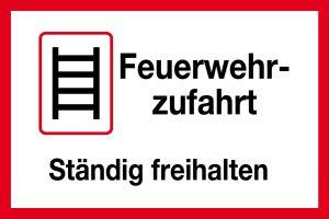 Feuerwehrschild - Feuerwehrzufahrt Always keep clear - plastic - 20 x 30 cm