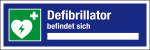 Notice at the workplace - defibrillator is located
