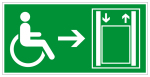 Escape route sign - lift with extended operating time right