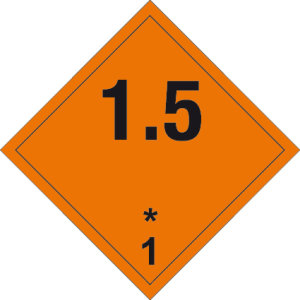Danger sign - Explosive substances 1.5 - Self-adhesive film - 5 x 5 cm