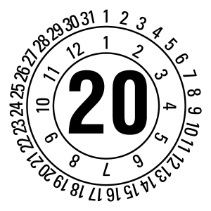 Annual test sticker 2020 | JP520 | Desired color - foil self-adhesive, white & black -? 10 mm - 50 pieces