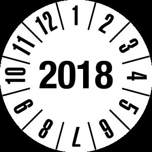 Annual Test Plaque 2018 | JP09 | Custom color - foil self-adhesive, white & black - Ø 10 mm - 50 pieces