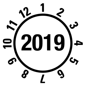 Annual test sticker 2019 | JP20 | Custom color - foil self-adhesive, white & black - Ø 10 mm - 50 pieces