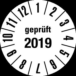 Annual test sticker 2019 | JP30 | Custom color - foil self-adhesive, white & black - Ø 10 mm - 50 pieces