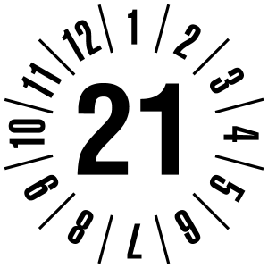 Annual test sticker 2021 | JP121 | Custom color - foil self-adhesive, white & black - Ø 10 mm - 50 pieces