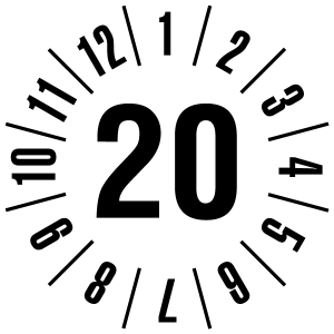 Annual test sticker 2020   JP120   Custom color - foil self-adhesive, white & black - Ø 10 mm - 50 pieces